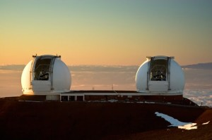 Keck Telescopes at dusk