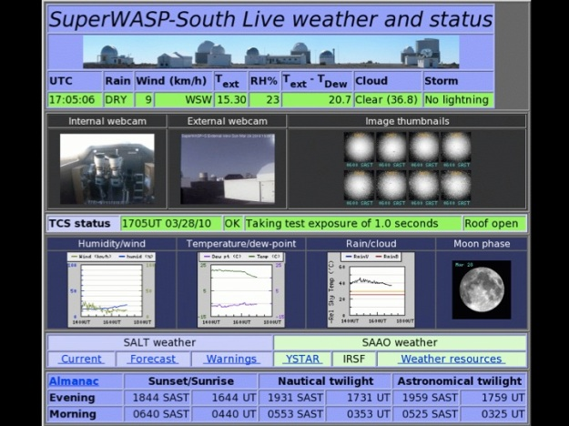 WASP-South remote-observing page