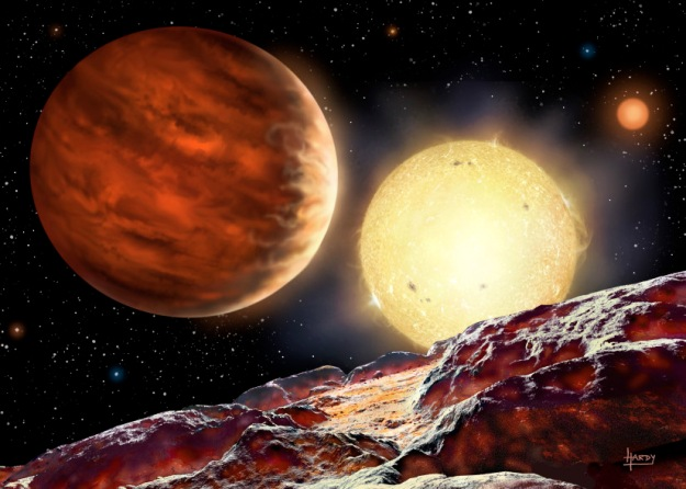Artist's impression of Tom's planet, WASP-142b, orbiting its star, WASP-142. The  planet is depicted as seen from a hypothetical moon. A second, dimmer star is seen in the background. Being 1000 light years away, the planet is too distant to  obtain a direct image.