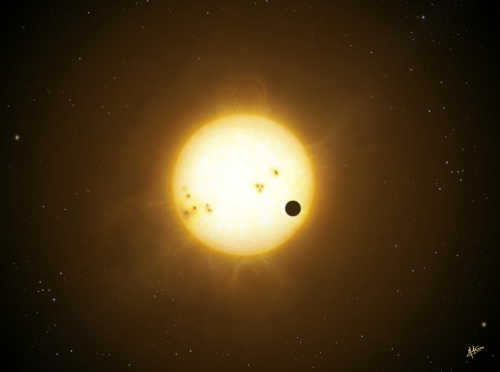 An illustration of a WASP planet transiting its host star (image credit: Mark Garlick).